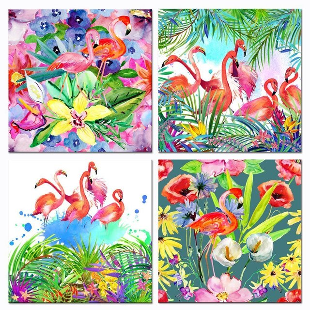 Scene Art Deco Tropical Flamingo and Flowers Picture Canvas Painting ...