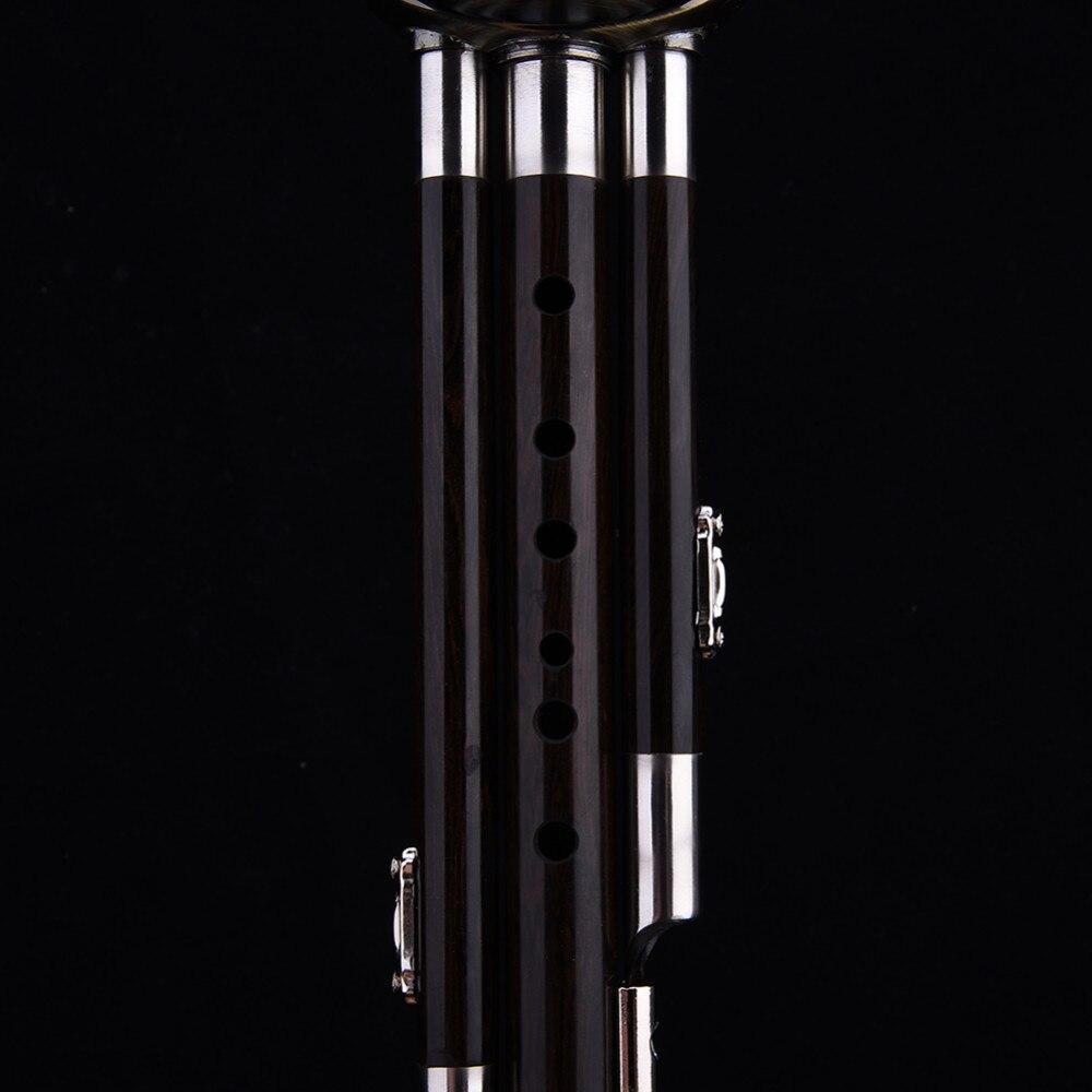 Trois tons clé de C bB A Hulusi flûte cuivre placage ébène gourde résistant à l'humidité calebasse Cucurbit flûte Instruments nationaux chinois - 4