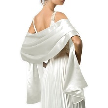 Hermosa mujer Chal Wrap Long 200 * 45CM vestidos de novia White Satin Wraps y chales por encargo color disponible