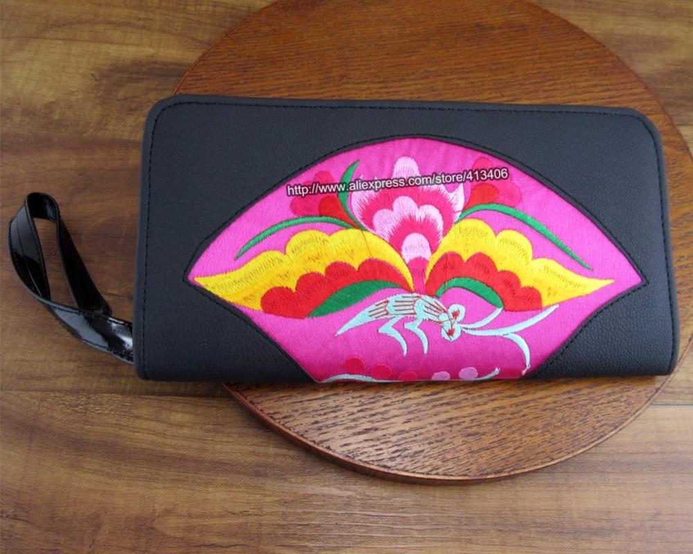 8-Pocket Vintage Hmong Тай этникалық әмиян әмиян, Карточка ұстағыш сөмке, Hobo Hippie этникалық PU былғары қолғап сөмке кесте, SYS-517