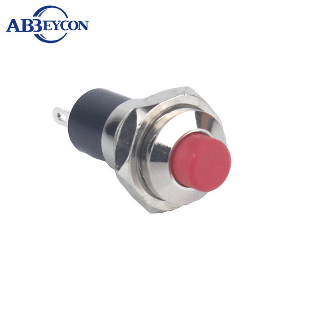 7mm/10mm Red Plastic High Head Latching Normally Open Pin Terminal Push Button Switch Metal Shell Brass Nickle Plated Housing