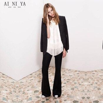 Black 2 Pieces Sets Womens Business Suits Formal Bell-bottomed Pants Female Trouser Suit Ladies Autumn Winter Office Uniform