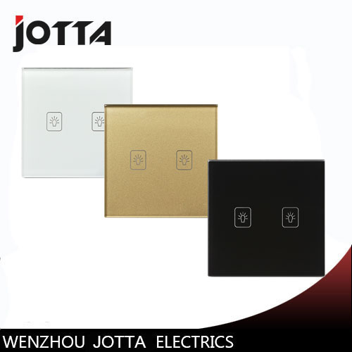 EU Hot Sale 1 Way 2 Gang Ctystal Glass Panel Smart Touch Light Wall Switch Remote Controller White/Black/Gold newest 0 02w 1 way 3 gang crystal glass panel smart touch light wall switch remote controller white ac110v 240v black