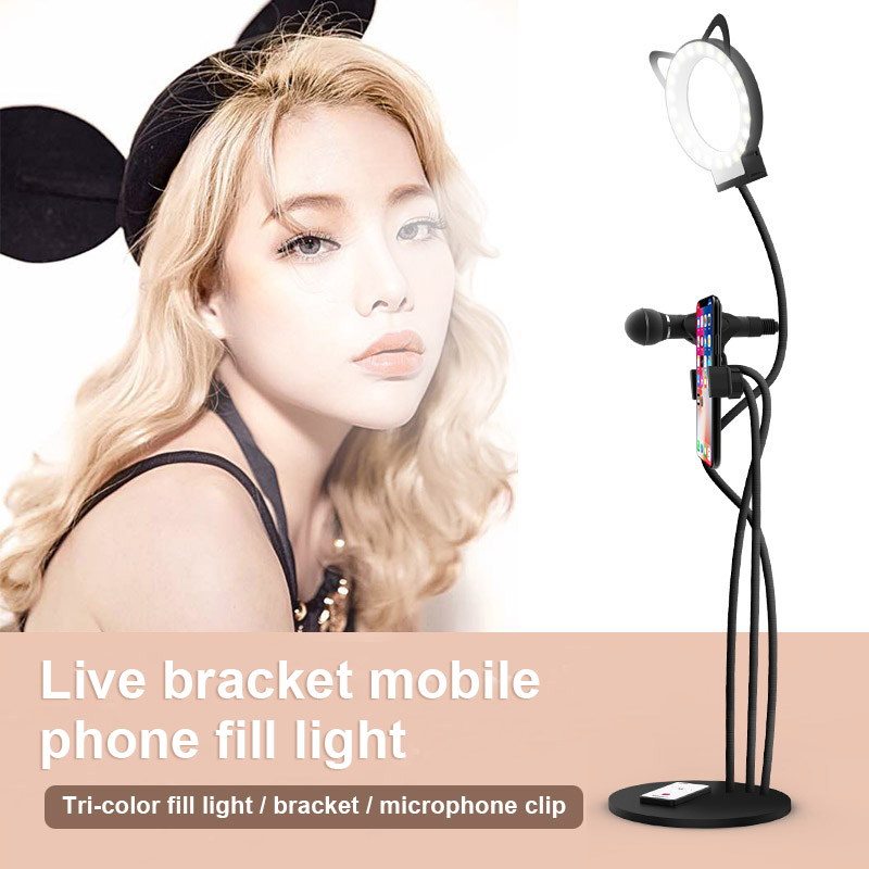 Ring LED Light Photography Selfie Fill Light Desktop Phone Clip Microphone Bracket QF66Ring LED Light Photography Selfie Fill Light Desktop Phone Clip Microphone Bracket QF66