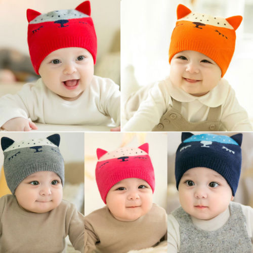 New Toddler Kids Girl Boy Baby Infant Winter Warm Crochet Knit Hat Cute Animal Cartoon Ears Beanie Cap