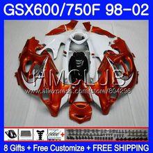 Комбинезоны для Suzuki Katana GSXF 750 600 оранжевого и белого цветов в стиле хип GSXF750 98 99 00 01 02 2HM. 5 GSX750F GSXF600 1998 1999 2000 2001 2002 обтекатель