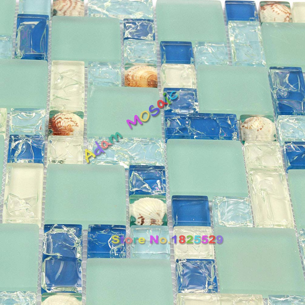 Glass Tile Blue Mosaic Kitchen Backsplash Sea Shell Tile Bathroom ...