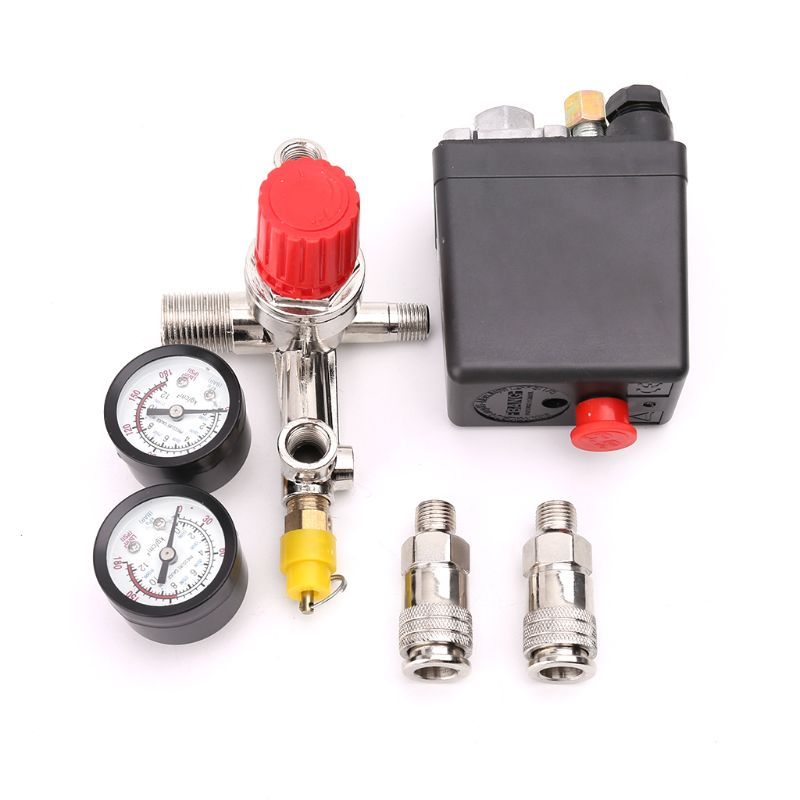 Air Compressor Pressure Control Switch Valve 0.5 1.25MPa With Manifold Regulator and Gauges