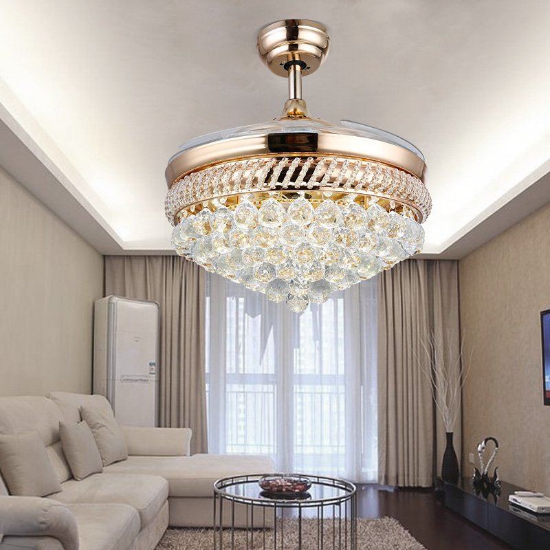 Crystal Chandelier Fan With Lights Steel Fans Folding