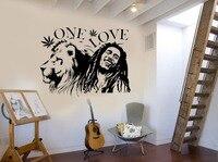 Wall Stickers Muraux Bob Marley Lion Zion ONE LOVE Marijuana Quote Wall Art Sticker Vinilos Paredes