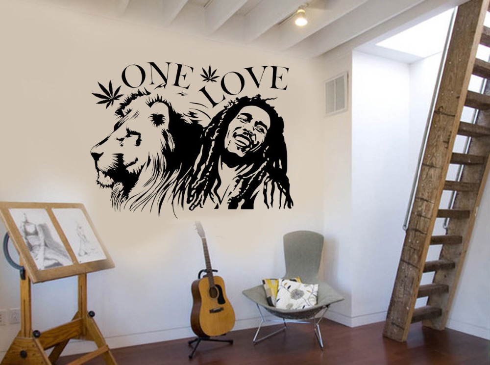 Wall Stickers Muraux Bob Marley Lion Zion One Love Marijuana Quote Wall Art Sticker Vinilos Paredes Living Room Decor Ny 308