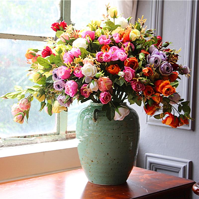 Venta al por mayor 100 unids Seda Rosa Flor de aerosol (5 flores / - Para fiestas y celebraciones