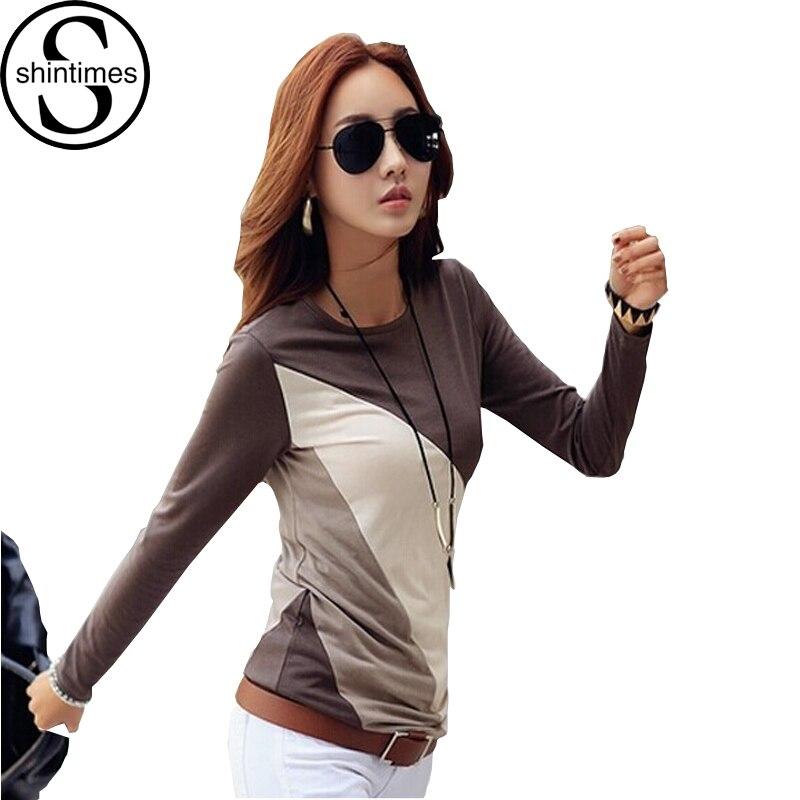 Camisa feminina de manga comprida camisa de algodão de manga comprida camiseta de algodão kawaii coreano das mulheres topos 2019 tamanho grande camiseta