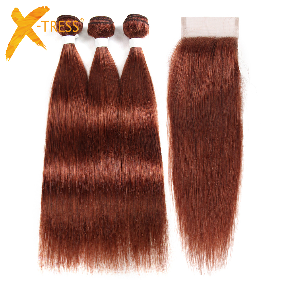 X-TRESS Brazilian Straight Human Hair 3 Bundles With 4x4 Lace Closure Middle/Free Part Non-remy Hair Weaves Auburn Brown 4pcs