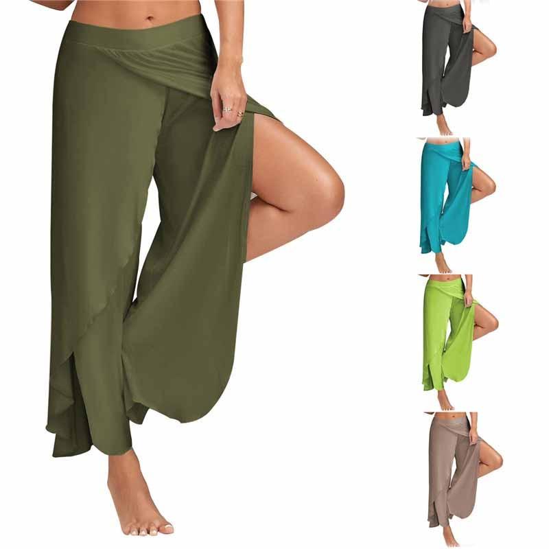 2019-New-Fashion-Summer-Women-Chiffon-Split-Flared-Skirt-Pants-Palazzo-Boho-Wide-Leg-Loose-Trousers