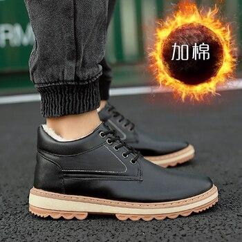 Зимние Для мужчин сапоги Martens цвет: черный, синий рабочие безопасные ботинки удобные Винтаж меха мужской обуви на шнуровке ботильоны для муж...