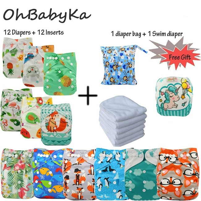 Ohbabyka Reusable Diapers Baby Pocket Cloth Diaper Cover Washable Nappy Changing 12pcs 12pcs Microfiber Inserts 1Free