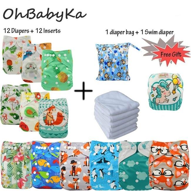 2e72c3b895cd Cheap Ohbabyka reutilizable pañales bebé tela de bolsillo cubierta de pañal  lavable pañales cambiando 12 piezas