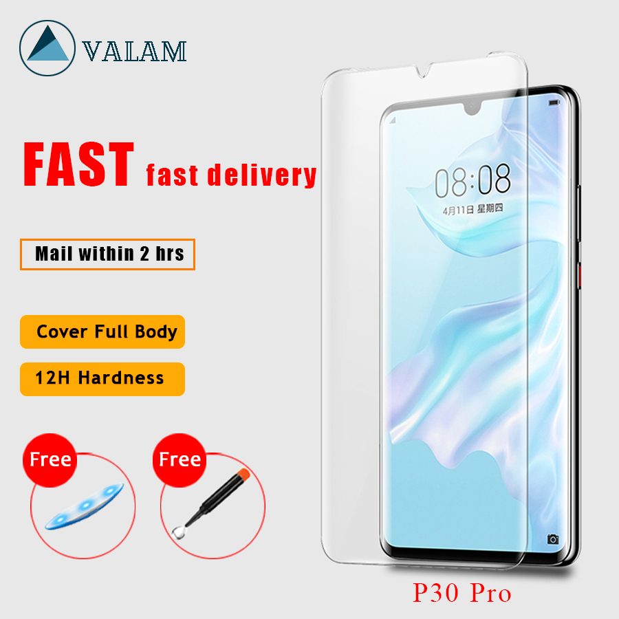 Nano Liquid UV Glue Tempered Glass For Huawei P30 Pro lite P20 Pro lite Liquid Protector Glass For Huawei Mate 20 Pro Lite 20 RS-in Phone Screen Protectors from Cellphones & Telecommunications