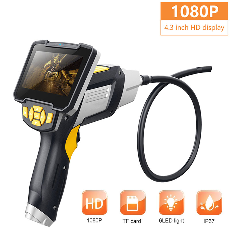 4.3 Inch Screen Ear Spoon Borescope Endoscope 1080p ABS 8mm Waterproof Photos Monitoring Inspection Real-Time Video Inskam