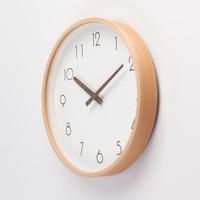 Nordic simple Beech wood wall clock Mute living room clock Mute the quartz clockOffice decoration clock Home decoration clock