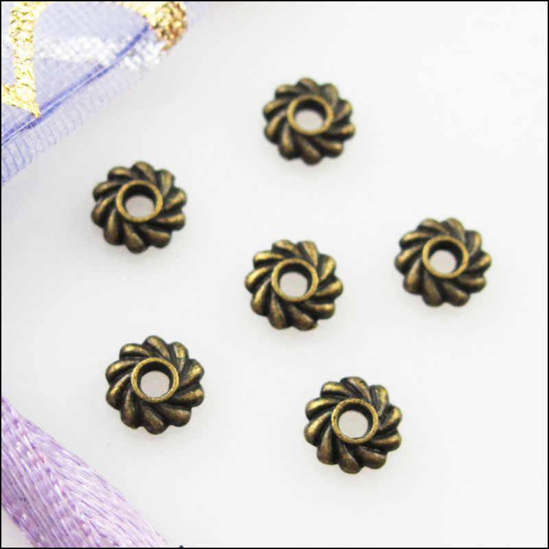 האופנה 150Pcs בסגנון עתיק ברונזה צבע פרח הילוך Spacer חרוזים קסמי 5mm