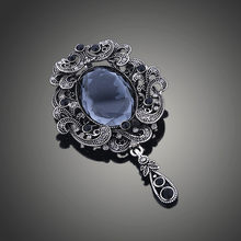 Top luxury Black big Brooch pins crystal Rhinestone Classic Big Glass Beauty images Crystal vintage Brooch For Women X00200(China)