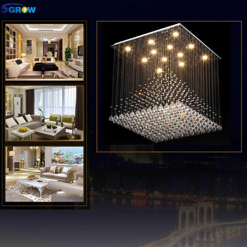 SGROW Modern K9 Crystal Chandelier Square Ceiling Hanging Lamp Lighting Fixture for Living Room Bedroom Hotel Lustre LED Lampara