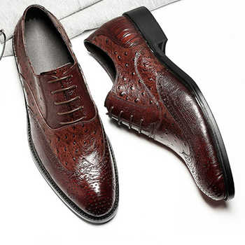 Phenkang mens formal shoes genuine leather oxford shoes for men italian 2019 dress shoes wedding shoes laces leather brogues - DISCOUNT ITEM  49% OFF All Category