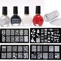 4pcs Nail Stamping Plates+ 4x Stamp Nail Polish +1pcs scraper +1X Stamper Konad Nail Art Stamp Tool Kit
