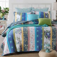 FADFAY 100% Cotton Blue Vintage Quilt Sets Floral Bed Bedding Set Luxury Comforter Set Lightweight Bedspreads Queen Size Bed Set