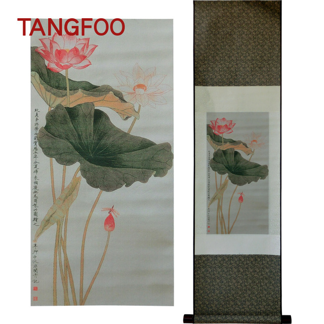 Aliexpress buy three dimensional silk brocade painting lotus three dimensional silk brocade painting lotus flower diagram drawing scroll with chinese element paintings for mightylinksfo