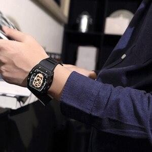 Image 5 - Fashion Tonneau Skeleton Watch Men Hollow Waterproof Skull Watch Male Quartz Silicone Wrist Watch Men Clock erkek kol saati