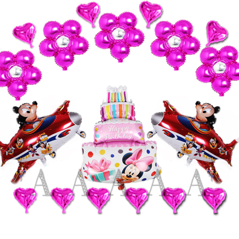 18pcs New Mickey & Minnie aircraft birthday balloons childrens birthday party balloon toy cake flower heart style ballons