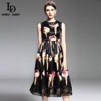 2017 Spring Summer New Runway Designer Dress Women S Sleeveless Vest Crystal Button Black Vintage Ice