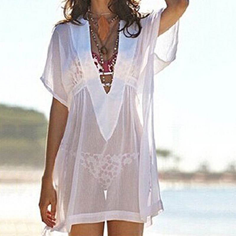 Pareo Women Beach Wear Cover Up Sexy V-neck Chiffon Swimwear Cover-ups New Transparent Blouse Dress swimsuit Bathing Suit