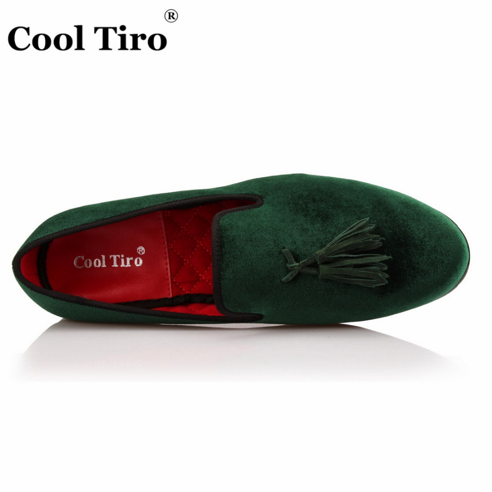 4049a3d4931 COOL TIRO Red black green Loafers men Velvet tassel Luxury Handmade Dress  Party Slippers Slip on Smoking Flats Shoes-in Men s Casual Shoes from Shoes  on ...