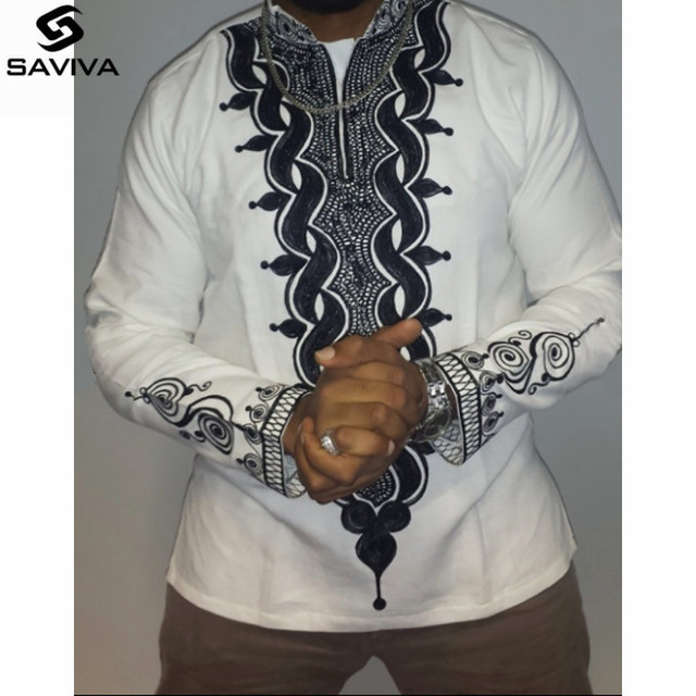 2017 Autumn African Clothing For Mens Ankara Clothes Shirt White Cotton  Stitching Batik Printing Long Sleeve