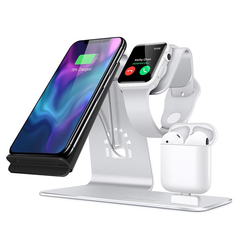 Besand 3 в 1 Беспроводное зарядное устройство для телефона, и для iWatch стенд, для Airpods Зарядное устройство Док-станция, Настольный держатель для п...