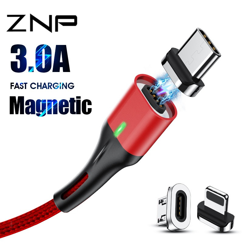 ZNP 3A Magnetic Cable Micro USB Type C Fast Charging Phone Microusb Type-C Magnet Charger USB C For Iphone Huawei Xiaomi Cable