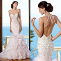Amazing Mermaid Bride Dress Backless Ruffled Skirt Organza Spaghetti Straps Beaded Luxurious Wedding Dress Fish Tail 2015