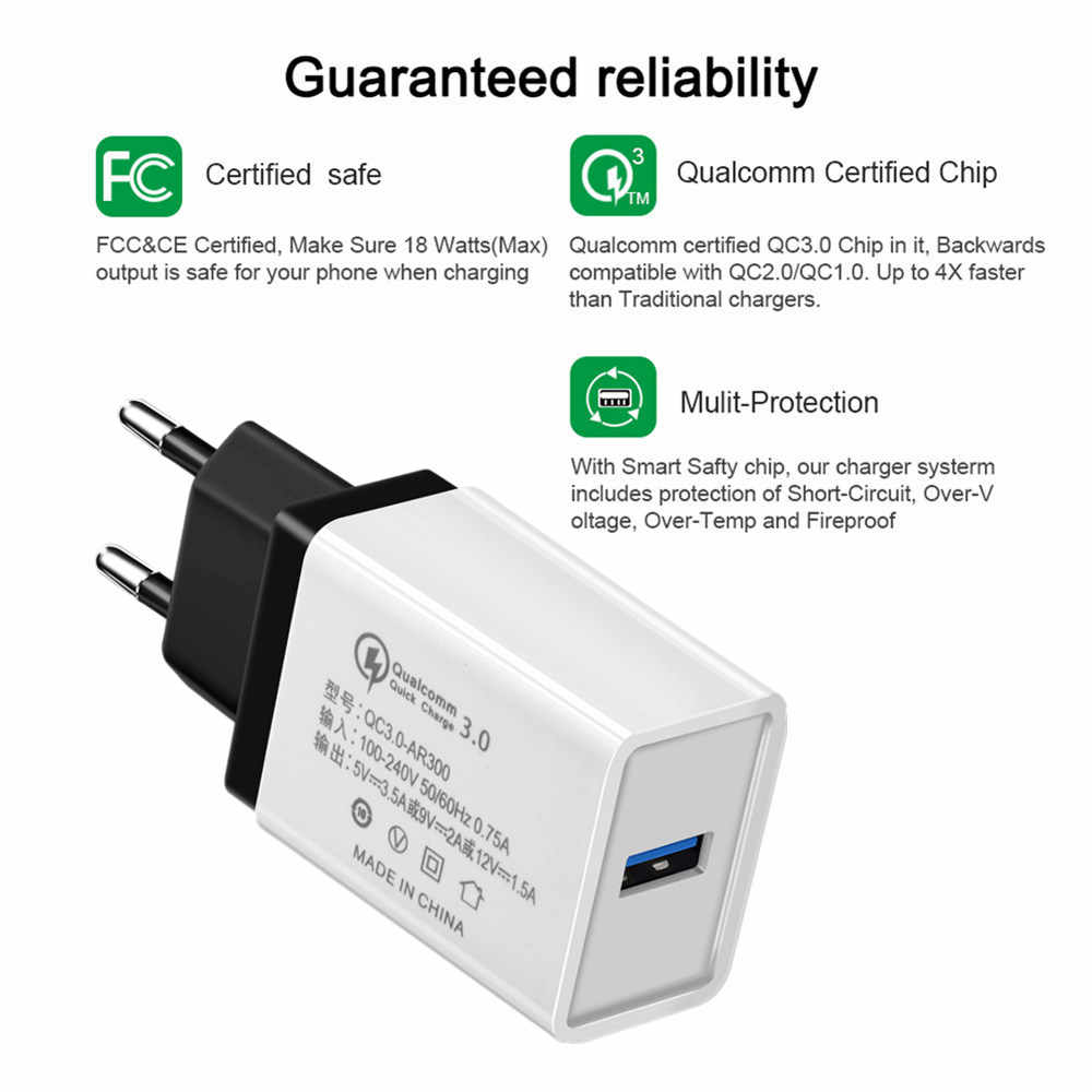 5V 3.5A Quick Charge 3.0 USB Fast Charger EU/US QC3.0 USB Wall Charger Adapter Phone Chargers for iphone X Xiaomi Samsung Huawei