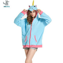 Hksng Dewasa Hewan Gambar Kartun Unicorn Hoodies Pikachu Stitch Pokemon Black Cat Racoon Atasan Jaket Kostum(China)
