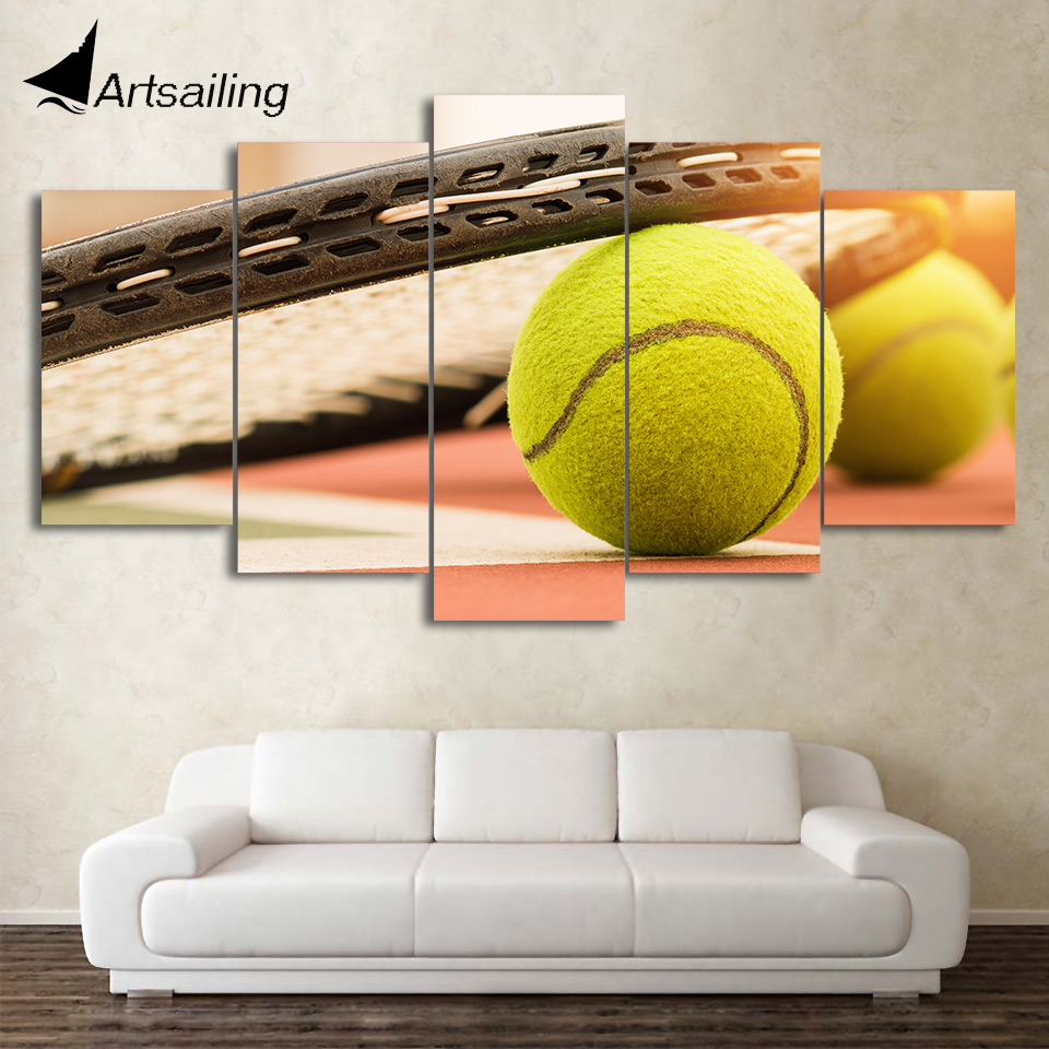 HD Printed 5 Piece Canvas Art Tennis Balls Painting Framed Wall Pictures for Living Room Modern