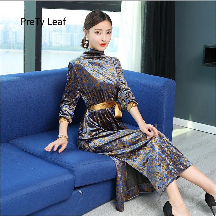 2018 autumn and winter long long-sleeved silk velvet dress female