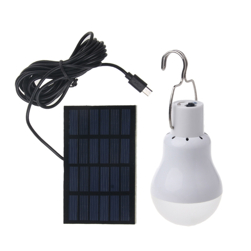 Solar Panel Powered LED Light Bulb Portable 15W 110lm Lamp Outdoor Hiking Camping