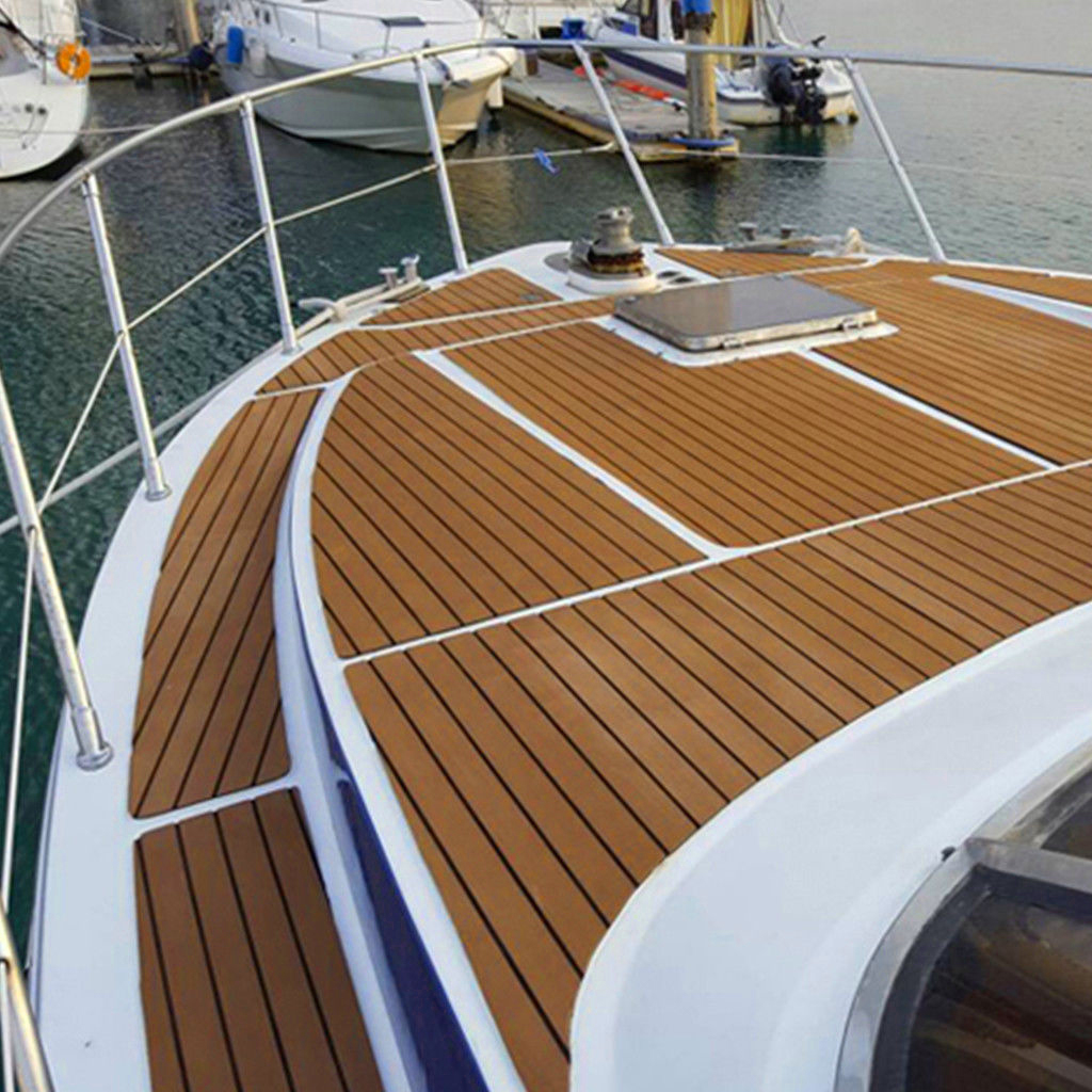 94'x2.3' Self Adhesive EVA Teak Sheet Marine Flooring Yacht Boat Decking Mat Pad Edge Strip Brown Color Boat Accessories Decors