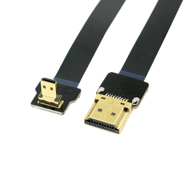 FPV 90 Degree Down Angled FPV Micro <font><b>HDMI</b></font> Male to <font><b>HDMI</b></font> Male FPC Flat Cable <font><b>50cm</b></font> for FPV HDTV Multicopter Aerial Photography image