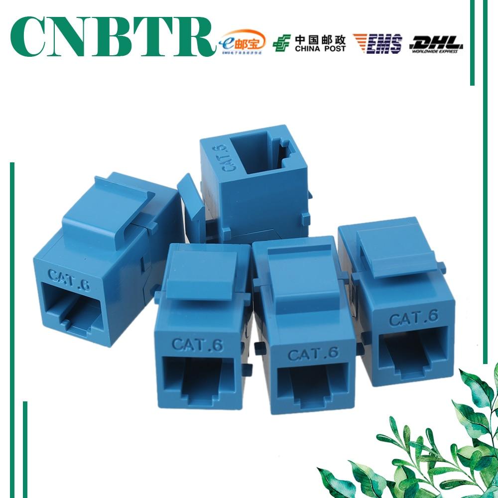 CNBTR 5pcs Cat6 RJ45 Gigabit Coupler Female Adapter Shielded For Keystone Panel Blue