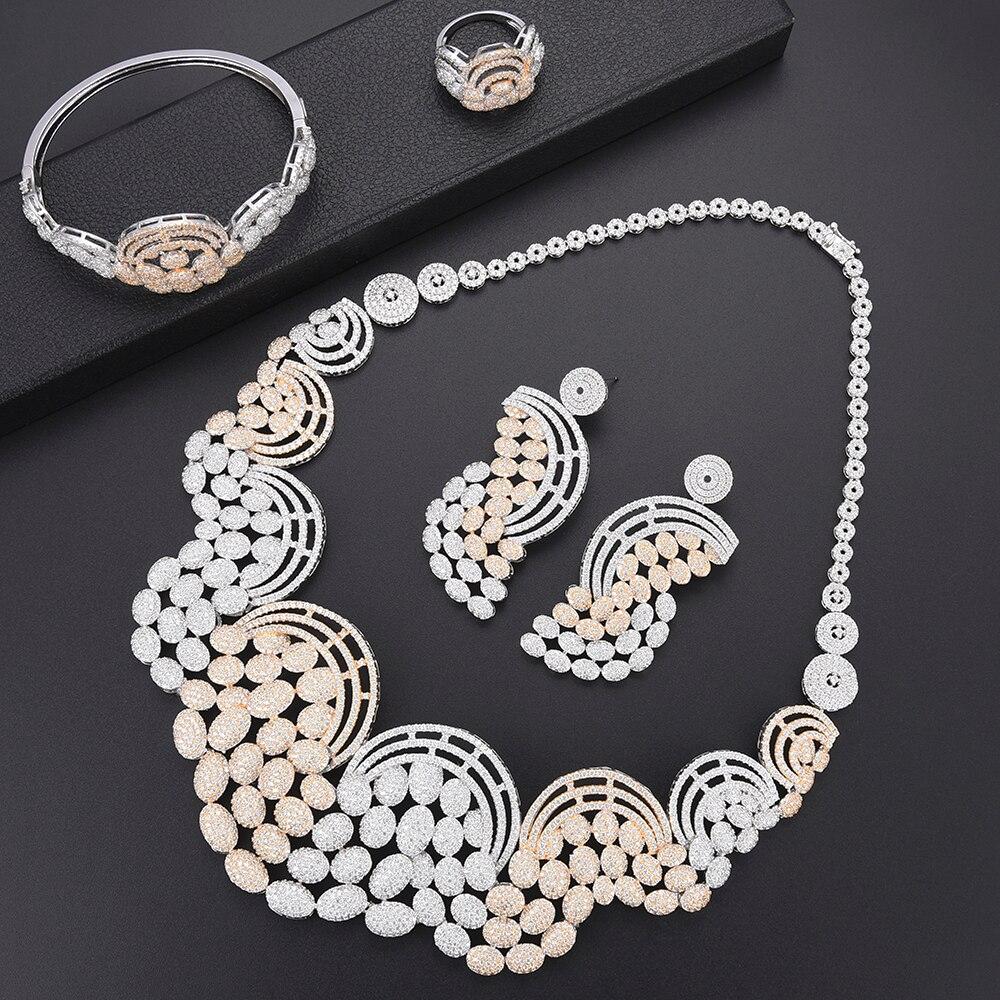 missvikki Top Women Charming Bridal Wedding Anniversary Gift Bijoux Accessories AAAAA Cubic Zirconia Silver Jewelry Set